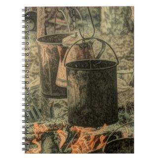Rustic campfire scene spiral note book