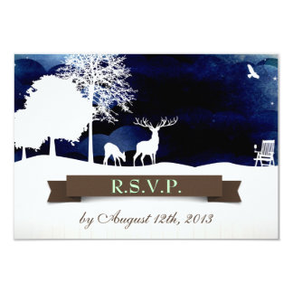 """Rustic Campground Wedding RSVP with Deer and Trees 3.5"""" X 5"""" Invitation Card"""
