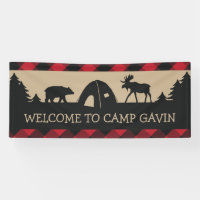 Rustic camping birthday party welcome banner