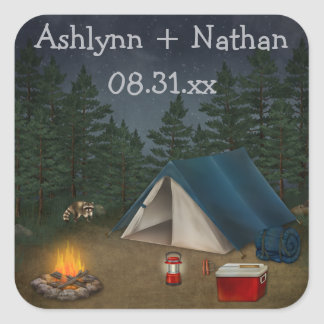 "Rustic Camping ""Glamping"" Wedding Favor Sticker"