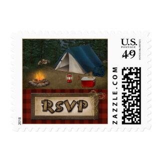 Rustic Camping Glamping Wedding RSVP Postage