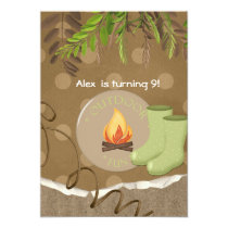 Rustic Camping Party Birthday Invitations