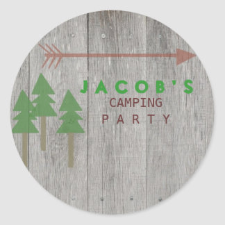Rustic Camping Party Sticker