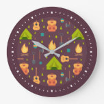 Rustic Camping Pattern Tents and Guitars Large Clock