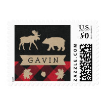Rustic camping personalized birthday party postage