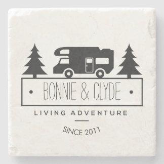 Rustic Camping   RV Travel Trailer Camper Retired Stone Coaster