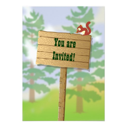 Rustic Camping Sleepover Party Invitations (back side)