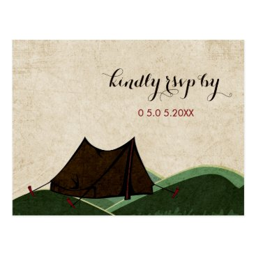 Rustic Camping Wedding RSVP Postcard