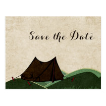 Rustic Camping Wedding Save the Date Postcard