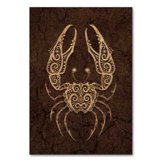Rustic Cancer Zodiac Sign on Stone Effect Card