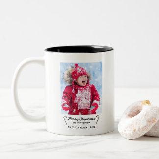 Rustic Candy Cane Christmas Photo Two-Tone Coffee Mug