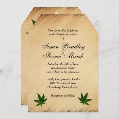 Rustic Cannabis Ticket Wedding Invitation
