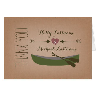 Rustic Canoe + Heart With Arrows Thank You Card