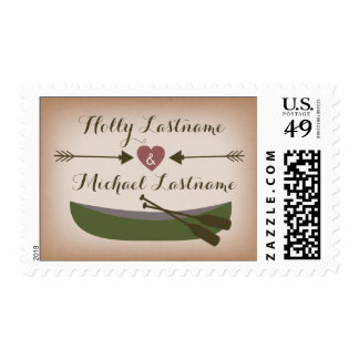 Rustic Canoe + Heart With Arrows Wedding Stamp