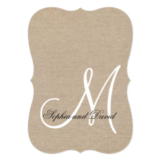 Rustic Canvas Wedding Custom Monogram Invitation