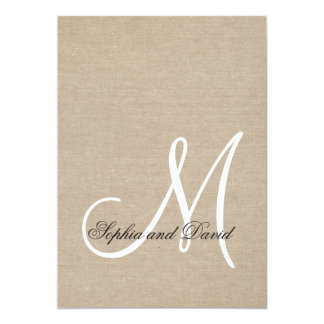 Rustic Canvas Wedding Monogram Initial Invitation