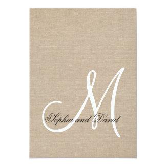 Rustic Canvas Wedding Monogram Initial Invitation
