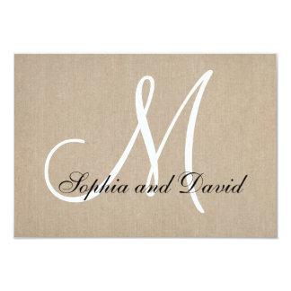 Rustic Canvas Wedding RSVP Monogram Card