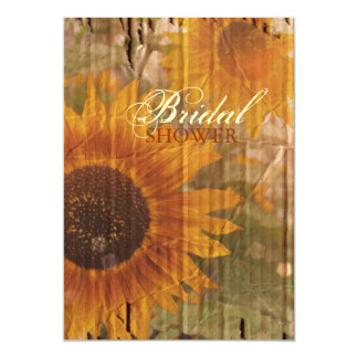 rustic cardboard country sunflower bridal shower card