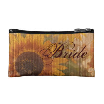 rustic cardboard country sunflower bride makeup bag