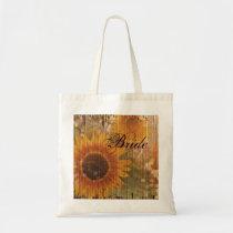rustic cardboard country sunflower bride tote bag