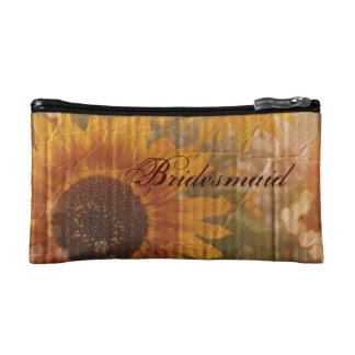 rustic cardboard country sunflower bridesmaid makeup bag