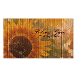 rustic cardboard country sunflower wedding business card