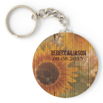 rustic cardboard country sunflower wedding favor keychain