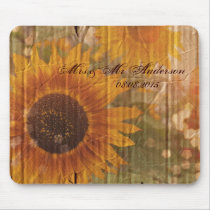 rustic cardboard country sunflower wedding mouse pad