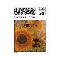 rustic cardboard country sunflower wedding postage