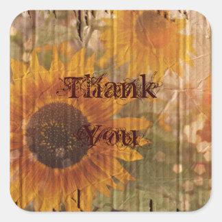 rustic cardboard country sunflower wedding square sticker