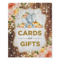 Rustic Cards & Gifts Pumpkin Elephant Baby Shower Poster