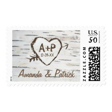 rusticweddings Rustic Carved Birch Bark Tree Wedding Stamps