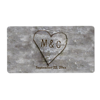 Rustic Carved Birch Heart Monogram Label