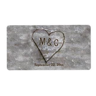 Rustic Carved Birch Heart Monogram Water Bottle Label
