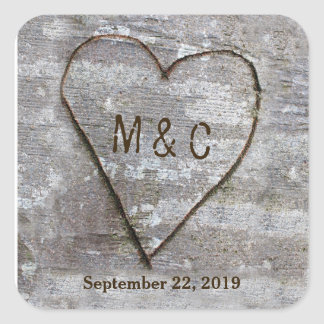 Rustic Carved Birch Heart Tree Wedding Initials Square Sticker