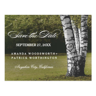 Rustic Carved Birch Tree Country Save The Date Postcard