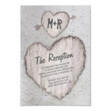 Rustic Carved Heart Birch Tree Wedding Reception