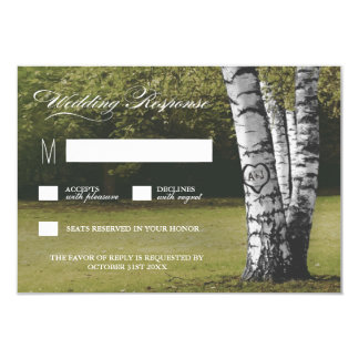 Rustic Carved Heart Birch Tree Wedding RSVP Cards