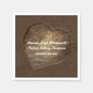Rustic Carved Heart Oak Tree Slice Wedding Napkins