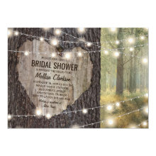 Rustic Carved Heart Tree Bridal Shower Invitations