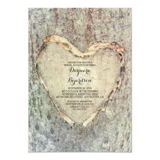 rustic carved heart tree vintage bridal shower card