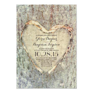 rustic carved heart tree vintage wedding card