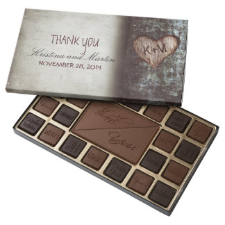 Rustic carved heart tree wedding thank you 45 piece assorted chocolate box