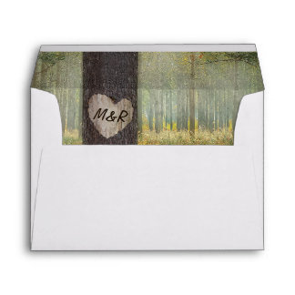 Rustic Carved Heart Tree Woodland Wedding Envelope