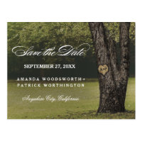 Rustic Carved Oak Tree Country Save The Date Postcard