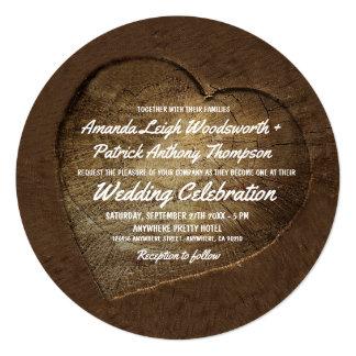 Rustic Carved Tree Slice Wedding Invitations