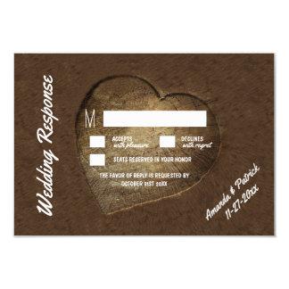 Rustic Carved Tree Slice Wedding RSVP Cards
