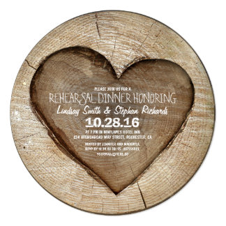 Rustic carved tree wood heart rehearsal dinner card