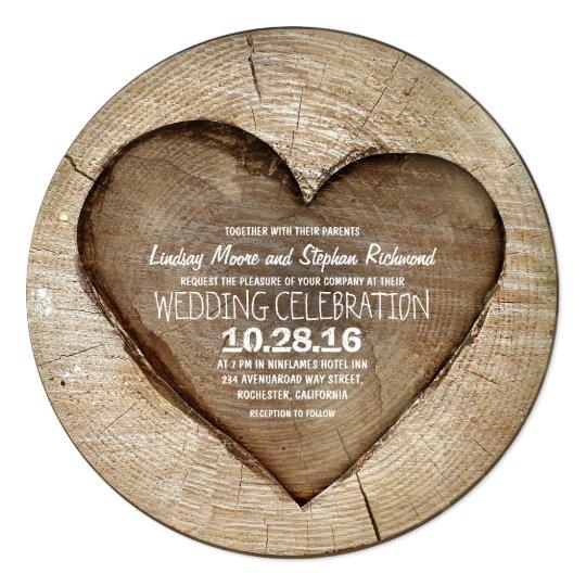 Rustic carved tree wood heart wedding invitation Zazzlecom